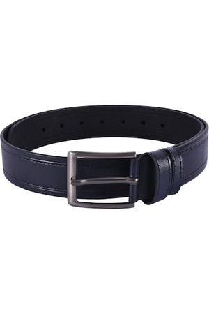 BuckleUp Men Navy Blue & Black Leather Formal Belt