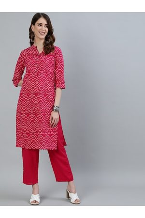 Ishin Women Pink Bandhani Printed Pure Cotton Kurta with Trousers