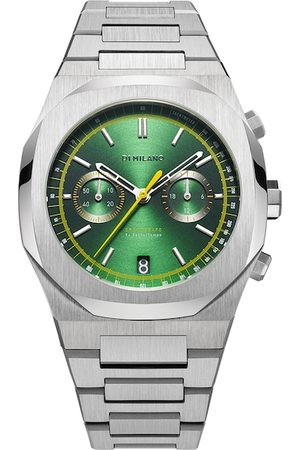 D1 MILANO Men Green Brass Dial & Silver Toned Stainless Steel Bracelet Style Straps Analogue Watch