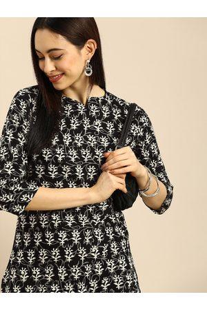 Anouk Women Black Ethnic Motifs Printed Pure Cotton Kurta with Trousers