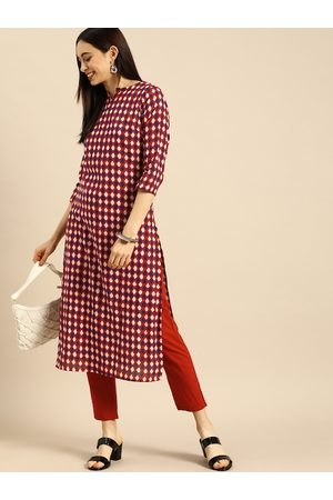 Anouk Women Red Printed Pure Cotton Kurta with Trousers