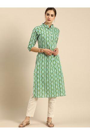 Anouk Women Green & White Ethnic Motifs Printed Kurta