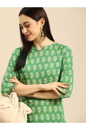 Anouk Women Green Ethnic Motifs Printed Pure Cotton Kurta with Trousers