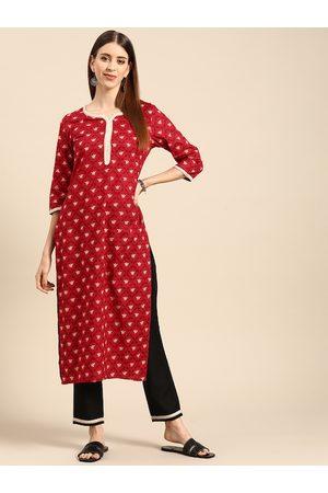 Anouk Women Red & Black Ethnic Motifs Printed Pure Cotton Kurta with Trousers