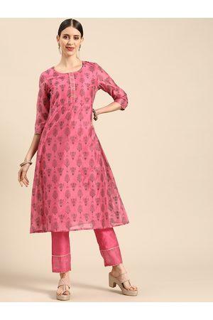 Anouk Women Pink & Grey Ethnic Motifs Printed Gotta Patti Kurta with Palazzos