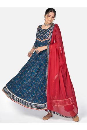 Vbuyz Women Blue & Mutlicolor Printed Anarkali Pure Cotton Kurta Set With Dupatta
