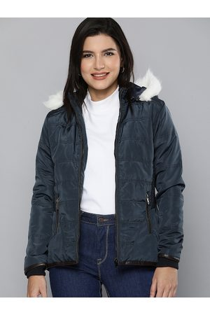 HERE&NOW Women Navy Blue Solid Parka Jacket
