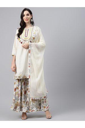 Silai Bunai Women White Motifs Embroidered Mirror Work Cotton Kurti with Sharara & Dupatta