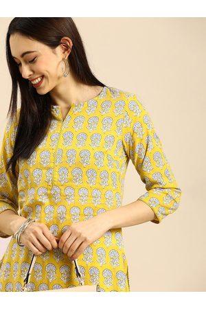 Anouk Women Mustard Yellow Floral Printed Pure Cotton Kurta with Palazzos