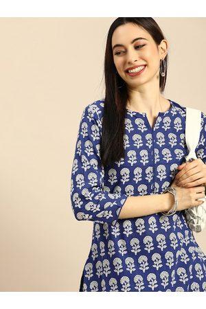Anouk Women Blue Floral Printed Pure Cotton Kurta with Palazzos