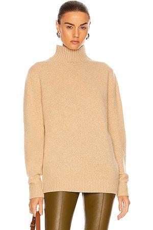 THE ELDER STATESMAN Cashmere Heavy Oversized Turtleneck Sweater in Khaki