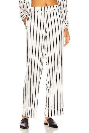 ASCENO Women Wide Leg Trousers - The London PJ Bottom in Stripe