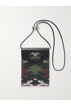 Burberry Men Wallets - Leather-Trimmed Camouflage-Print Canvas Pouch with Lanyard