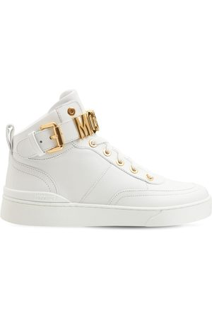 Moschino Women Sneakers - 35mm Basket Leather High-top Sneakers