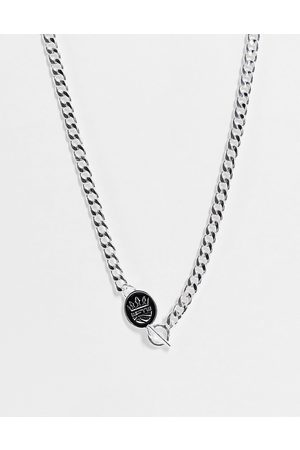 WFTW Men Necklaces - Enamelled shield charm flat curb chain necklace in