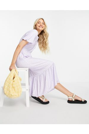 In The Style X Stacey Solomon ruffle hem midi dress in lilac floral print