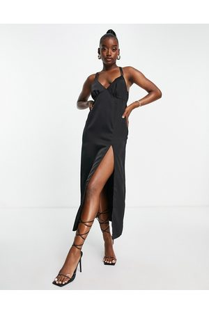 In The Style X Yasmin Chanel satin maxi dress with thigh split in