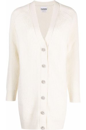 Ganni Ribbed-knit V-neck cardigan