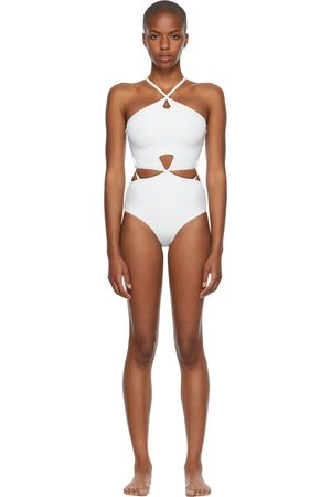 Women Swimsuits - Christopher Esber White Looped Halter One-Piece Swimsuit