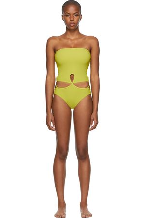 Christopher Esber Green Looped Adjustable Strapless One-Piece Swimsuit