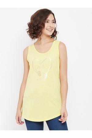 Crimsoune Club Women Yellow Regular Sleeveless Tank Top