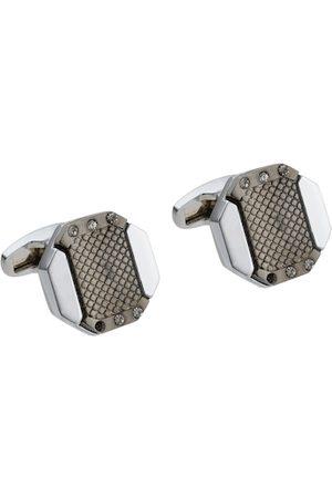 Alvaro Castagnino Silver-Toned & Grey Geometric Cufflink