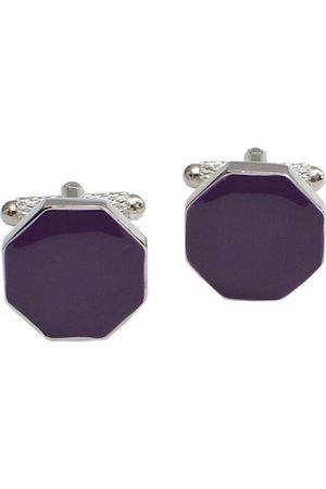 Alvaro Castagnino Purple & Silver-Toned Diamond Shaped Cufflinks