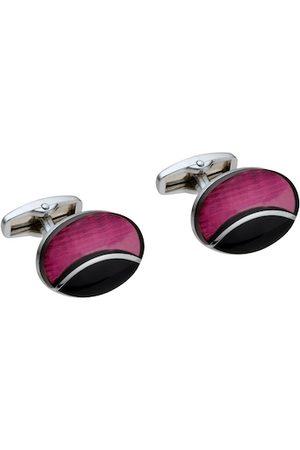 Alvaro Castagnino Silver-Toned & Pink Oval Cufflink
