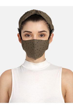Anekaant Women 3-Ply Brown & Black Polka Dot Cotton Hairband & Mask