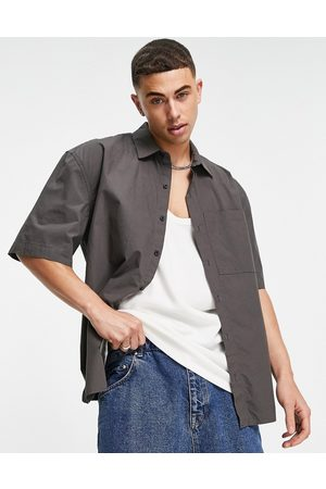 Topman Oversized paper touch shirt in charcoal
