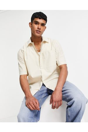 Topman Oversized paper touch shirt in stone