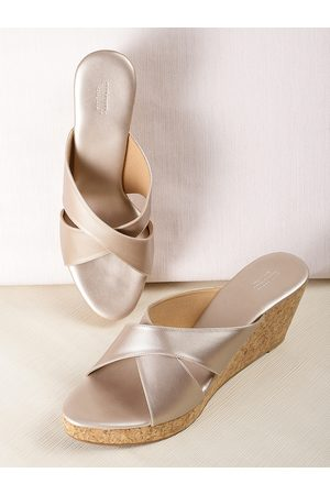 Anouk Women Muted Gold-Toned Solid Wedges