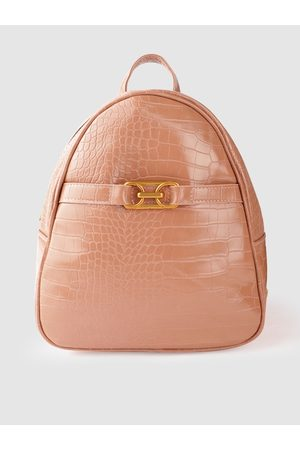 Mast & Harbour Women Peach-Coloured Croc-Textured Backpack