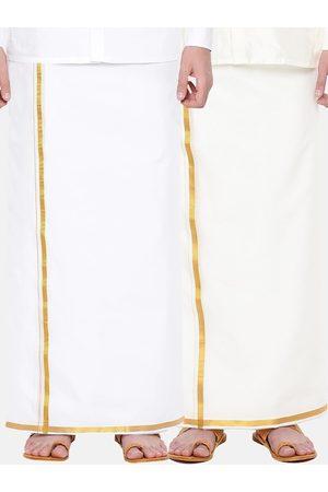 RAMRAJ COTTON Men Pack Of 2 Cream-Coloured Solid Cotton Dhotis
