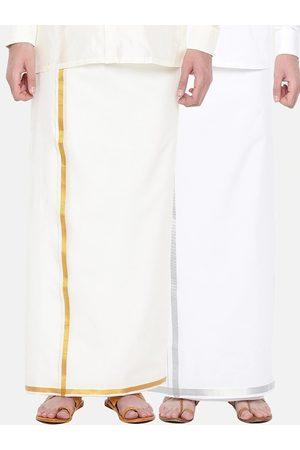 RAMRAJ COTTON Pack Of 2 Men Cream-Coloured & White Solid Cotton Dhotis