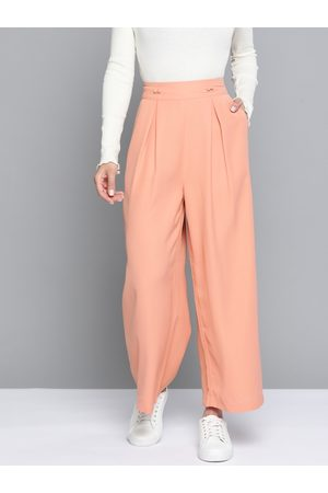 Mast & Harbour Women Peach-Coloured Solid Wide Leg Pleated Trousers