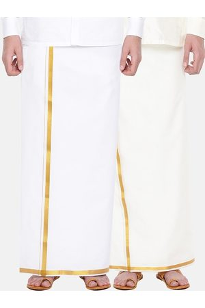 RAMRAJ COTTON Men Pack Of 2 Cream-Coloured & White Solid Cotton Dhotis