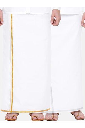 RAMRAJ COTTON Men Pack Of 2 White Solid 100% Cotton Dhotis