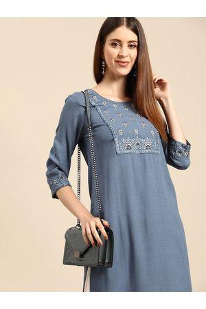 Anouk Women Blue Ethnic Motifs Yoke Design Kurta