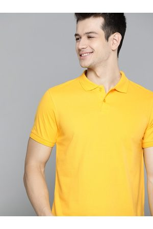 Mast & Harbour Men Yellow Handcrafted Polo Collar Solid T-shirt