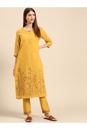 Anouk Women Mustard Yellow Ethnic Motifs Embroidered Thread Work Pure Cotton Kurta with Trousers