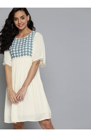 Mast & Harbour Off White & Blue Ethnic Motifs Embroidered Yoke A-Line Dress