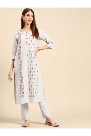 Anouk Women Blue & Red Embroidered Pure Cotton Kurta with Trousers