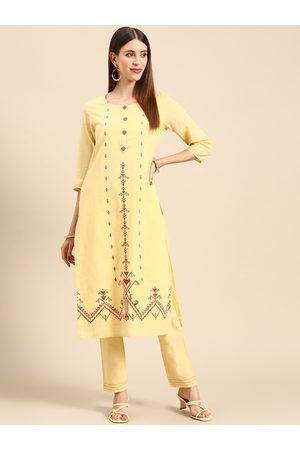 Anouk Women Yellow Embroidered Thread Work Pure Cotton Kurta with Trousers