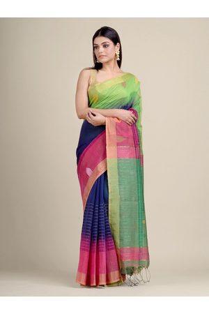 Charukriti Women Multi-Colored Striped & Woven Designed Saree