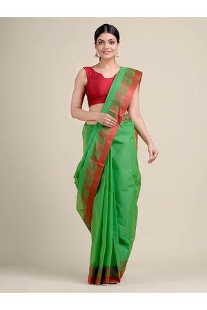 Charukriti Women Green & Red Pure Cotton Woven Designed Saree