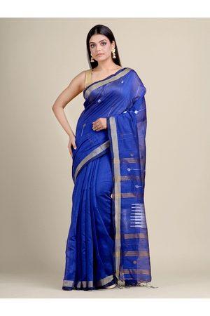 Charukriti Women Blue & Silver Woven Design Handloom Zari Saree