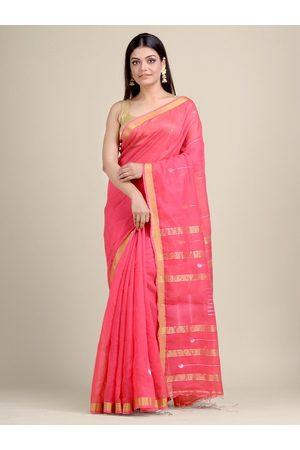 Charukriti Women Pink & Gold Woven Designed Saree