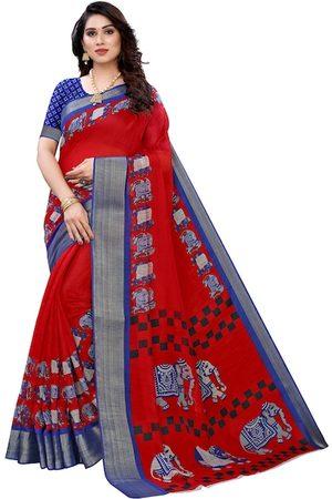 KALINI Women Red & Blue Ethnic Motif Elephant Print Saree