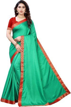 KALINI Women Sea Green & Red Woven Design Border Saree